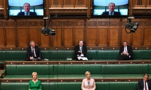 MPs observing physical distancing during  PMQs in the House of Commons