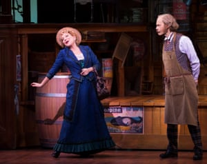 Bette Midler, with David Hyde Pierce as her target, Horace Vandergelder.