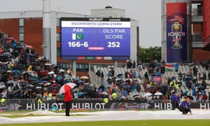 The scoreboard late in the afternoon as rain stops play.