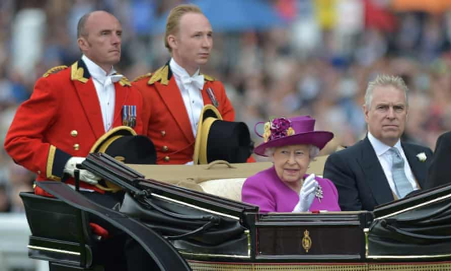 Queen Elizabeth II and Prince Andrew arrive in the Royal Procession at Ascot Racecourse.