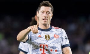Robert Lewandowski of Bayern Munich celebrates after scoring his team's second goal.