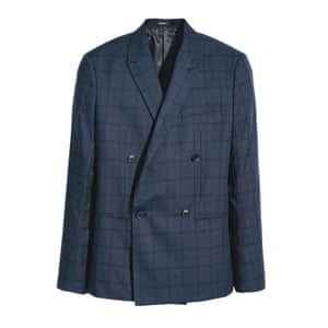 blue and black checked blazer H&M