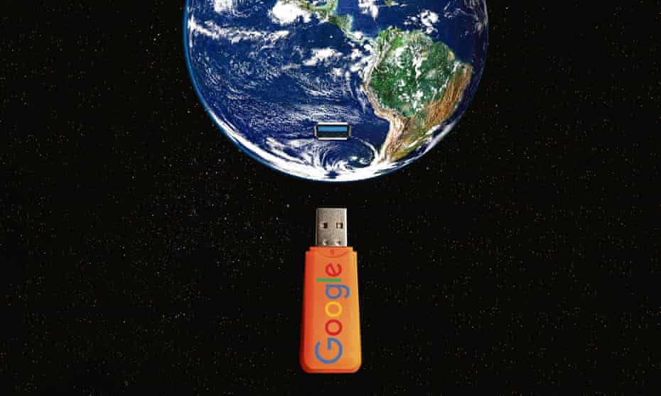 illustration: a Google flash drive plugging into Planet Earth