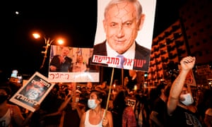 Protesters chant slogans during a demonstration against the Israeli government near the prime minister's residence in Jerusalem on 2 August 2020.