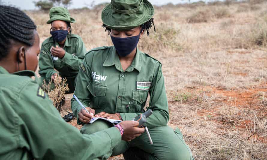 Team Lioness rangers on patrol in Kenya's Amboseli National Park.