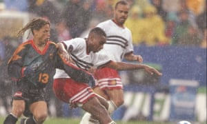 Eddie Pope denies Cobi Jones of the LA Galaxy during the first ever MLS Cup final on 20 October 1996. DC won 3-2 in extra time, and Eddie Pope scored the winning goal.