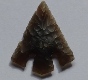 Tanged arrow head discovered at the site.