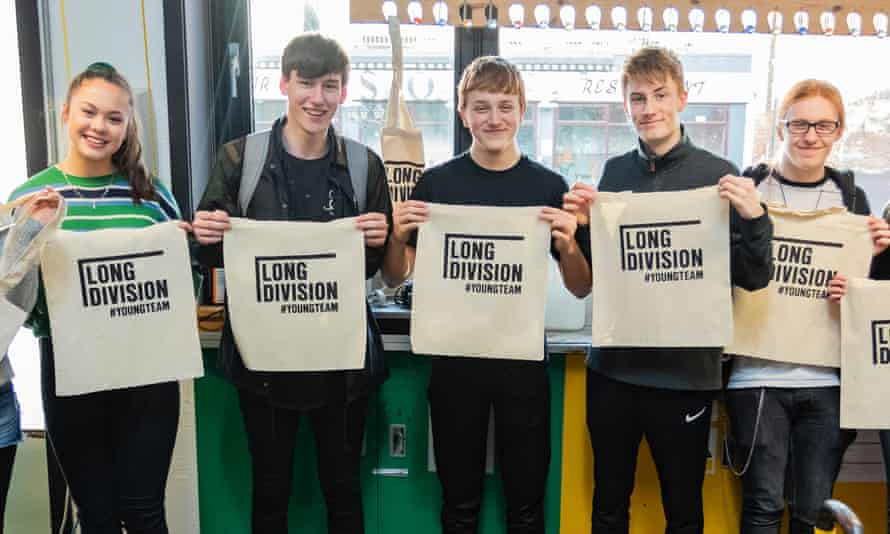 Young people taking part in the #YoungTeam programme as part of Long Division festival in Wakefield
