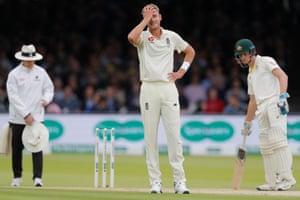England's Stuart Broad reacts.