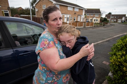 Siaron with her daughter, Caitlin: 'It's been stressful. You try to keep it all away from her, but she picks it up.'