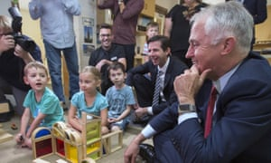 Malcolm Turnbull at a child care centre in Adelaide. Research shows that countries with high educational attainment have higher incomes.