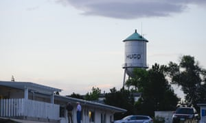 The water tower overlooks downtown Hugo, Colorado.