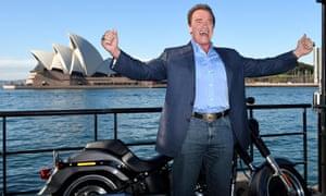 Arnold Schwarzenegger poses in Sydney on Thursday to promote the film Terminator Genisys.