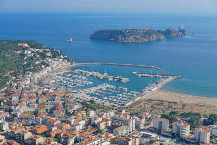 L'Estartit on the Costa Brava in Spain, aerial view