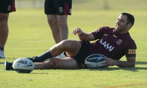 The path to happiness is in the numbers ... Cameron Smith smiles during QLD State of Origin team training.