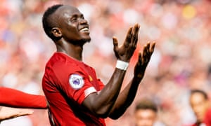 Sadio Mané celebrates scoring as Liverpool came from behind to beat Newcastle