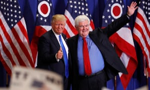 Newt Gingrich greets Donald Trump at a rally in Cincinnati in July 2016.