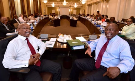 Jacob Zuma and Cyril Ramaphosa at a cabinet committee meeting in Cape Town on 7 February.