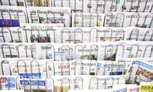 Newsstand full of  German newspapers