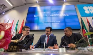 Mohamed Hamel, chairman of the Opec board of governors, Opec president Mohammed bin Saleh al-Sada and Opec secretary general Mohammad Barkindo in Vienna.