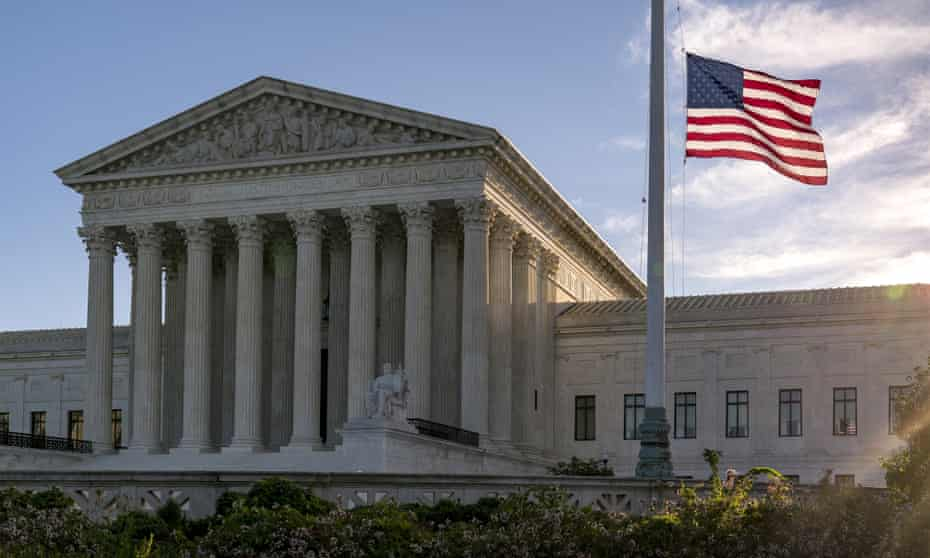 The flag flies at half-staff at the supreme court.