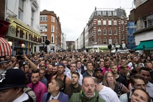London, England  People gather in Old Compton Street in the Soho district of London for a vigil in commemoration and solidarity with the victims of the Orlando massacre.