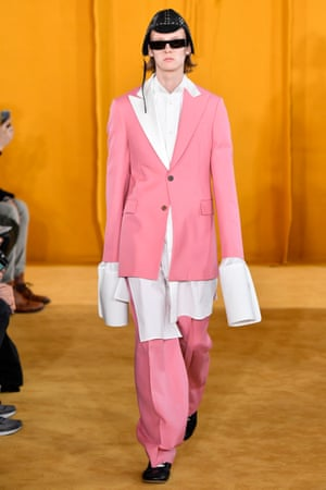 A pink suit by Loewe autumn/winter 19.