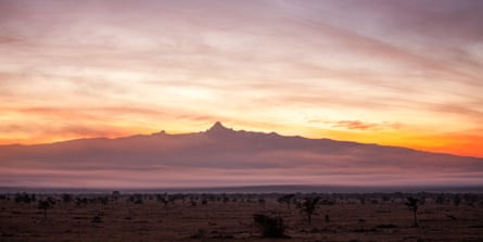 New horizon: a view of sunrise over Mount Kenya and the Laikipia valley.