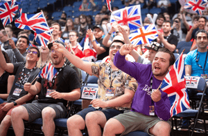UK fans cheer on their team at the 2018 Overwatch World Cup at Blizzcon, Anaheim.
