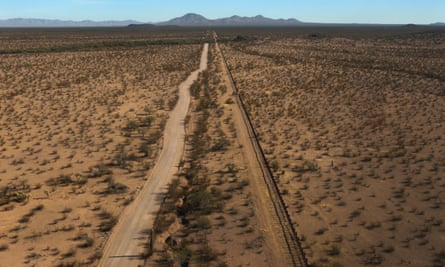 The US-Mexico border fence on the Tohono O'odham reservation.