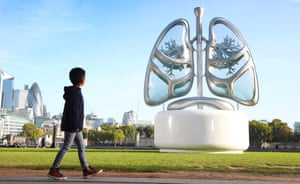London, UKA 16ft sculpture of a pair of lungs has been unveiled by E.ON near City Hall to raise awareness of air pollution