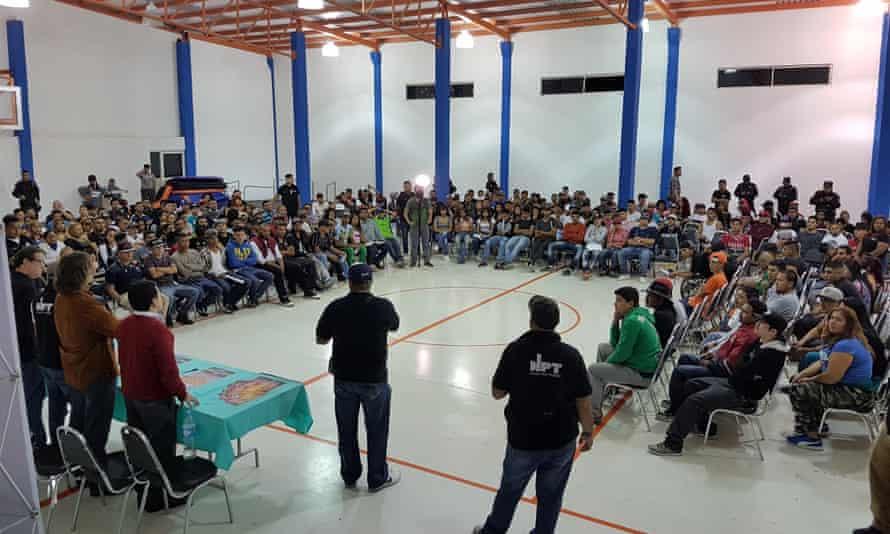 Thirteen gangs signing a truce at a gym hall in Monterrey's San Bernabé neighbourhood in January.
