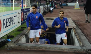 Mathieu Flamini with Mikel Arteta before Arsenal's game at Napoli in December 2013.