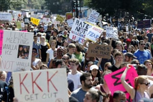 Counter protesters marching against white supremacists in Boston.