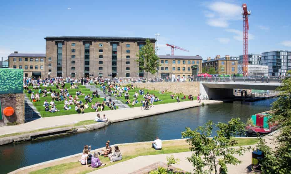 The Granary Square 'Pops' in London's King's Cross is one of the largest open-air spaces in Europe.