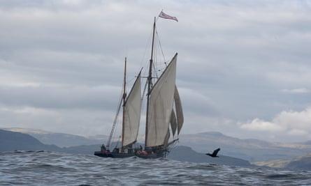 Ship ahoy: the Bessie Ellen off the coast of Staffa.