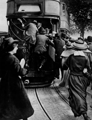 A rush for trams on the Victoria Embankment in London during a railway strike in the 1920s.