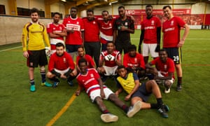 Refugees and asylum seekers in training at the weekly ClubTogether football session led by the Middlesbrough FC Foundation and the local Methodist Asylum Project.