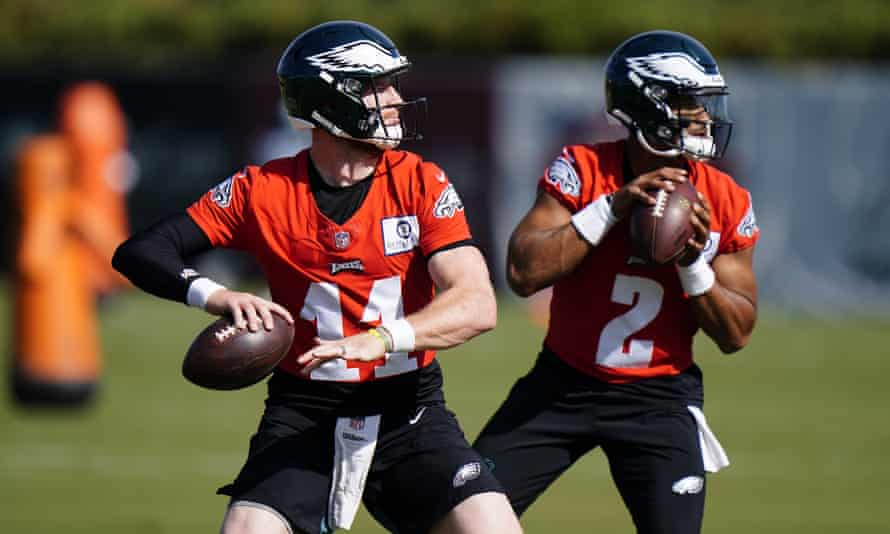 Carson Wentz, left, and Jalen Hurts during a training session earlier this season