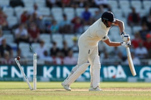 England's Jonny Bairstow is bowled out by India's Jasprit Bumrah.