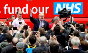 Boris Johnson in May 2016, by the Vote Leave bus