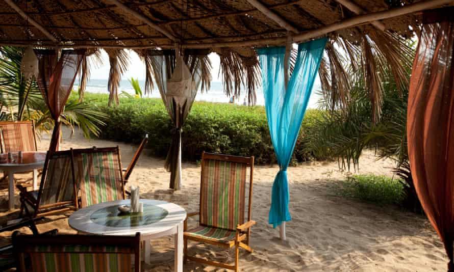 French restaurant La Plage on the sand at Asvem beach.
