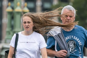 Hair-raising gusts on Westminster Bridge in London