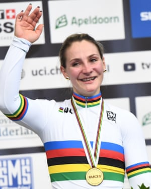 Germany's Kristina Vogel celebrates on the podium at the world championships in Apeldoorn.