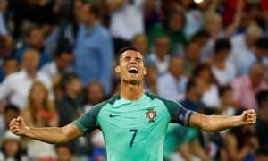 Cristiano Ronaldo celebrates at the end of the Euro 2016 semi-final win over Wales in Lyon.
