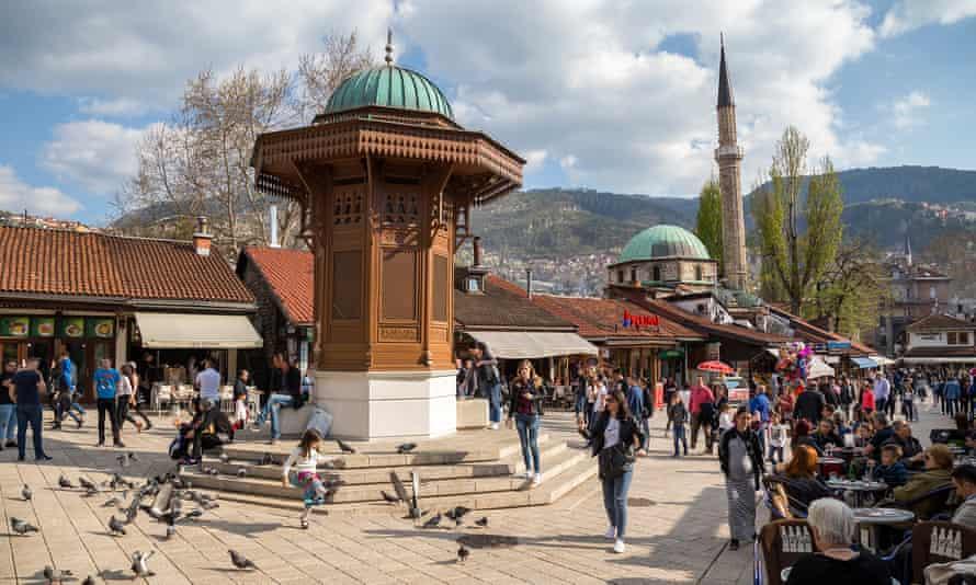 Bascarsija square in Sarajevo.