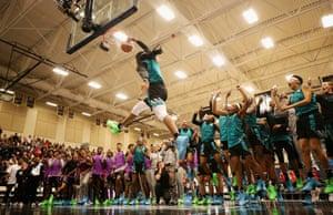 Francesca Belibi competes in the dunk contest at the 2019 Powerade Jam Fest in Marietta, Georgia, US