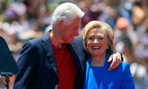 Hillary Clinton with Bill at her campaign kick-off rally in June.