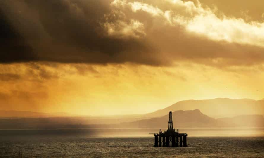 A drilling platform sits redundant in the Firth of Forth