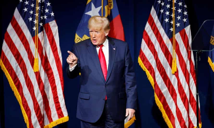 Former U.S. President Donald Trump speaks at the North Carolina GOP convention dinner